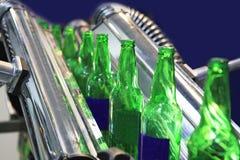 Technological line. For drying of bottles for beer Stock Photo