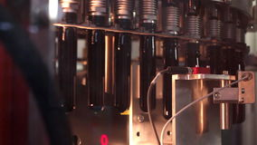 Technological line for bottling of beer in brewery. - stage1. Technological line for bottling of beer in brewery stock footage