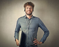 Technological man. Posing for a picture Royalty Free Stock Image