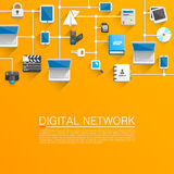 Technological network flat icons Stock Photos