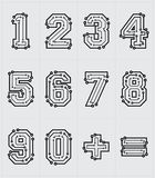 Technological Numbers. Drawing the electronic numbers are on a white background Royalty Free Stock Photo