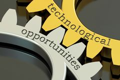 Technological opportunities concept on the gearwheels, 3D render Royalty Free Stock Images
