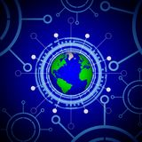 Technological panel of planet earth Stock Photo
