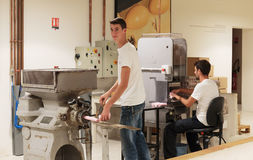 The technological process of the production of soap factory Frag. GRASSE, FRANCE - OCTOBER 31, 2014: Technological process of the production of soap factory Royalty Free Stock Photos