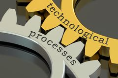 Technological processes concept on the gearwheels, 3D rendering Stock Photos