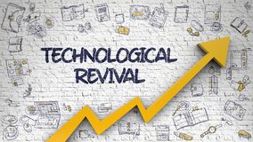 Technological Revival Drawn on White Wall. Technological Revival - Enhancement Concept. Inscription on the White Wall with Hand Drawn Icons Around. White Wall royalty free illustration
