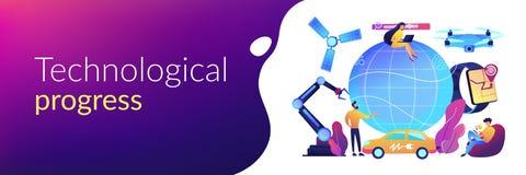 Technological revolution concept banner header. Tiny people using technological innovations, digital device. Technological revolution, modern scientific stock illustration