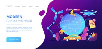 Technological revolution concept landing page. Tiny people using technological innovations, digital device. Technological revolution, modern scientific stock illustration