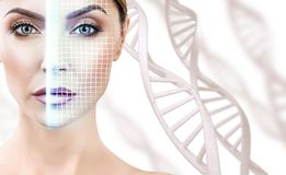 Technological scanning of face of young woman among DNA stems. Concept of security royalty free stock photos