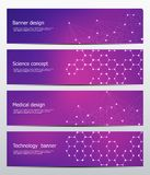 Technological and scientific banners with structure of molecular particles and atom. Polygonal abstract background Stock Photos