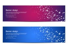 Technological and scientific banners with structure of molecular particles and atom. Polygonal abstract background Royalty Free Stock Photo