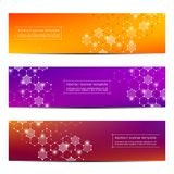 Technological and scientific banners with structure of molecular particles and atom. Polygonal abstract background Stock Photo