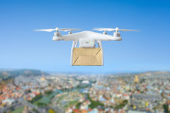 Technological shipment innovation - drone fast delivery concept Royalty Free Stock Photos