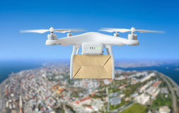 Technological shipment innovation - drone fast delivery concept Royalty Free Stock Photo
