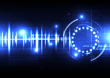 Technological spce sound wave light effect vector template backg Stock Photos