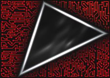 Technological triangular frame with circuit board elements of red, gray and white shades. Abstract technological triangular frame with circuit board elements of Stock Photos