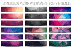 Technological Vector Web Banners. Bundle of 18 abstract digital technological web banners. Vector design elements. Internet technology background. Design vector stock illustration