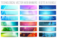 Technological Vector Web Banners. Bundle of 18 abstract digital tech web banners. Vector design elements. Internet technology background. Design vector elements stock illustration