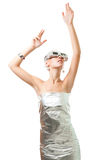 Technological woman in virtual reality glasses Stock Photography