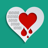 Technological world. Heartbleed bug, feelings, blood donation and heart health. Concept for modern technological world Royalty Free Stock Photography