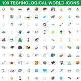 100 technological world icons set, cartoon style. 100 technological world icons set in cartoon style for any design vector illustration Royalty Free Stock Photo