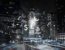 Technologiczne wymian walut ikony nad nocą Zdjęcia Stock