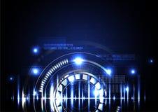 Technologiczny abstrakt iluminujący cyfrowy hud tło Zdjęcie Stock