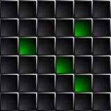 Technologiczny ciemny tło polerujący czerni i zieleni kwadraty Zdjęcia Stock