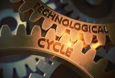 Technologiczny cykl na Złotych Cog przekładniach ilustracja 3 d royalty ilustracja