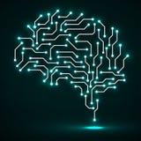 Technologiczny neonowy mózg gdy tło deska może use Abstrakcjonistyczny wektor ilustracja wektor