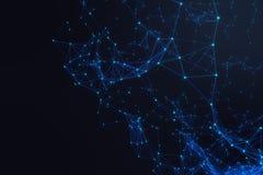 Technologiczny podłączeniowy futurystyczny kształt, błękitna kropki sieć, abstrakcjonistyczny tło, błękitny tła 3D rendering ilustracja wektor