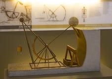 Technologiczny Techniczny muzeum wymieniający po Leonardo Da Vinci działu, ekspozycji modele przyrząda i technicznego inventi, zdjęcie stock