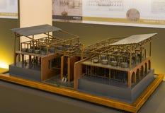 Technologiczny Techniczny muzeum wymieniający po Leonardo Da Vinci działu, ekspozycji modele przyrząda i technicznego inventi, obraz stock