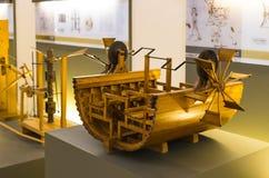 Technologiczny Techniczny muzeum wymieniający po Leonardo Da Vinci działu, ekspozycji modele przyrząda i technicznego inventi, zdjęcia royalty free