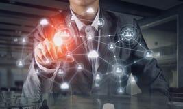 Technologieën die deze wereld verbinden Gemengde media Royalty-vrije Stock Afbeeldingen