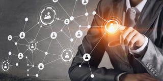 Technologieën die deze wereld verbinden Gemengde media Stock Foto
