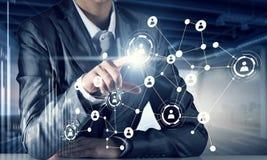 Technologieën die deze wereld verbinden Gemengde media Stock Afbeeldingen