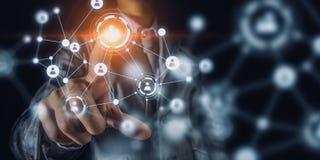 Technologieën die deze wereld verbinden Gemengde media Stock Fotografie