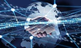 Technologieën om mensen te verbinden Gemengde media Stock Fotografie
