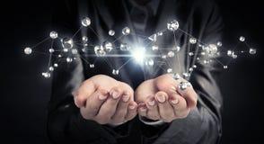 Technologieën voor verbindende mensen Gemengde media Royalty-vrije Stock Foto's
