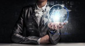 Technologieën voor verbindende mensen Gemengde media Stock Foto's