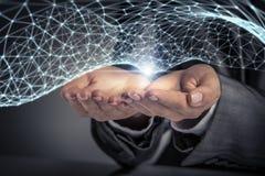 Technologieën voor verbindende mensen Gemengde media Stock Afbeeldingen