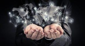 Technologieën voor verbindende mensen Gemengde media Stock Afbeelding