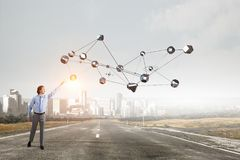 Technologie łączy świat Mieszani środki Zdjęcie Stock