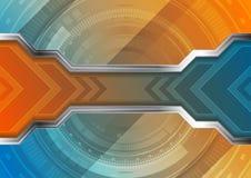 Technologie abstracte achtergrond met toestelvorm en pijlen royalty-vrije illustratie