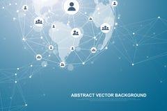 Technologie abstraite futuriste de blockchain de fond Connexion globale de réseau Internet Pair à scruter affaires de réseau illustration libre de droits