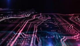 Technologie achtergrondpcb en code 3D Illustratie Stock Afbeeldingen