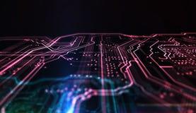 Technologie achtergrondpcb en code 3D Illustratie Royalty-vrije Stock Fotografie