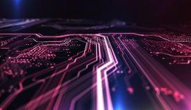Technologie achtergrondpcb en code 3D Illustratie Royalty-vrije Stock Afbeelding
