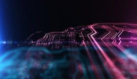 Technologie achtergrondpcb en code 3D Illustratie Royalty-vrije Stock Foto's